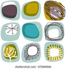 Mid century abstract shapes, rounded squares, eps10 vector