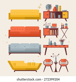 Mid century furniture flat modern icons design