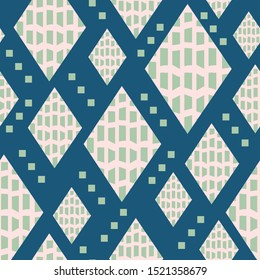 Mid century inspired seamless pattern with diamond shapes, small squares and bold texture. For textiles, graphic design, fashion, home decor and paper uses. Fun beatnik hipster vibe. Vector.