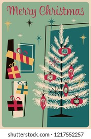 Mid Century Merry Christmas Greeting Card Style