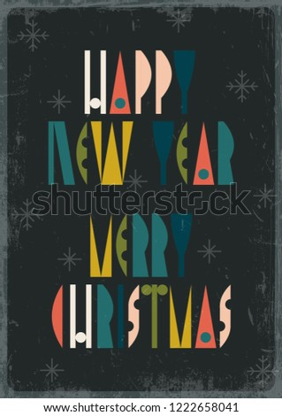 mid century merry christmas and happy new year greeting card grunge texture