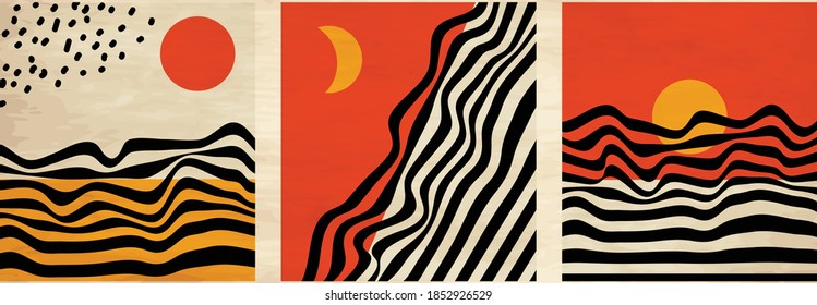 Mid century minimalist wavy retro art with abstract landscapes, sun and moon. Vintage posters, illustrations with lines and shapes for wall art, posters, cards, brochure design.