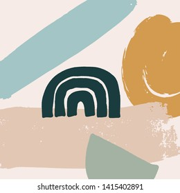 Mid century modern abstract art. Scandinavian style print. Nordic design for interior and other. Vector EPS clip art