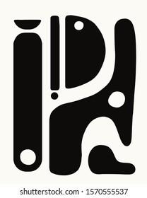 mid century modern abstract art black and white organic shapes minimal design scandinavian illustration