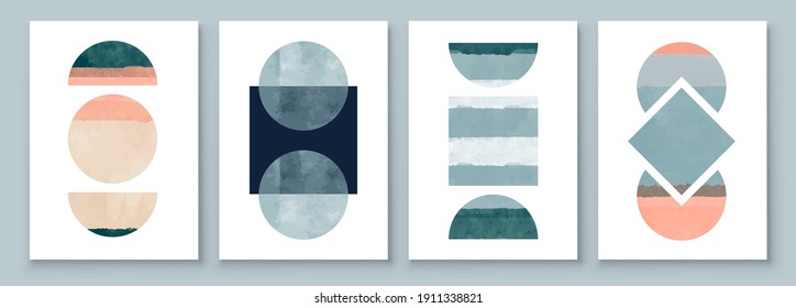 Mid Century Modern Design. A trendy set of Abstract Hand Painted Illustrations for Wall Decoration, Social Media Banner, Brochure Cover Design or Postcard Background. Aesthetic watercolor.