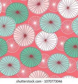 Mid Century Modern hand drawn seamless circle pattern in pink, teal, mint, white and coral