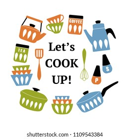 Mid Century Modern Kitchen Poster. Collection of cooking utensil with phrase Let's Cook Up. Vector clipart. Good for print.