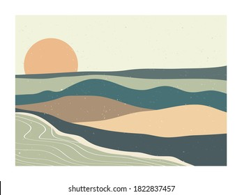 Mid century modern minimalist. Abstract nature, sea, sky, sun, river, rock mountain landscape poster. Geometric landscape background in scandinavian style. Vector illustration