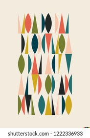 Mid Century Modern Pattern from the 1950s, Abstract Mosaic Decoration