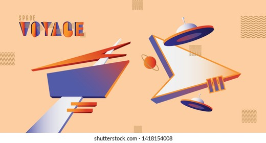 Mid century modern retro billboard and signboard with ufo flying saucers in vibrant contrasting colors