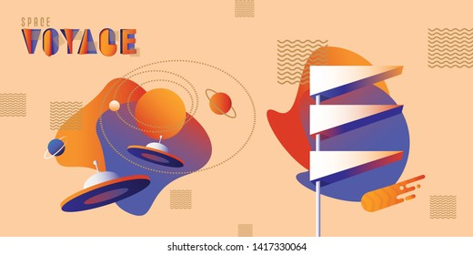 Mid century modern retro futurism inspired vector illustration set with flying saucers, planets, comet and vintage sign board in vibrant contrasting colors