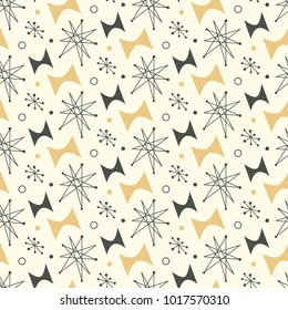 Mid century modern seamless pattern. 1950s vintage style atomic background, retro vector illustration.