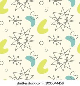 Mid century modern seamless pattern. 1950s vintage style atomic science background, retro vector illustration.