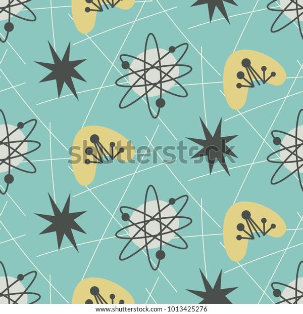 Середина века современный бесшовный узор. 1950-х годов винтажный стиль атомный фон, ретро-векторная иллюстрация.