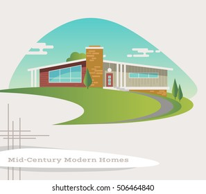 mid century modern style ranch house. vector illustration
