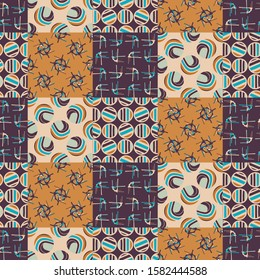 Mid Century Modern Vintage Pattern Background. Patchwork Quilt Masculine Graphic Design. Seamless Mosaic 1960s Style Retro Geometric Wallpaper. Hipster Flat Color. Swatch Tile Repeat Vector EPS 10
