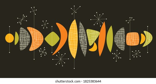 Mid century modern vivid colors abstract composition for card, header, invitation, social posts. Geometric shapes mid-century style elements.
