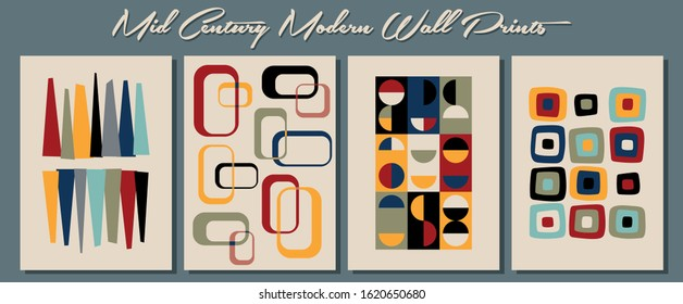 Mid Century Modern Wall Prints, Retro Style Backgrounds from the 1950s, Vintage Color Palette
