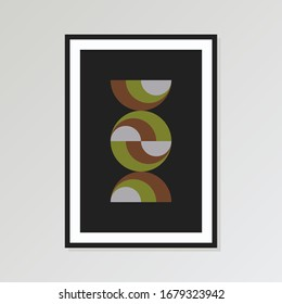 Mid Century Print, Modern Minimalist Geometric Wall Art, Large Printable Poster,  Earth Tone. Poster size 24x36 in. Vector EPS 10