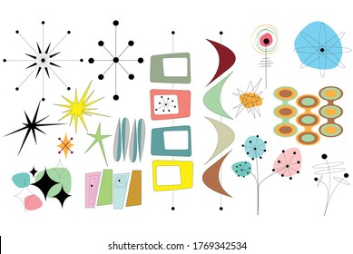 Mid Century Shapes Vector Collage