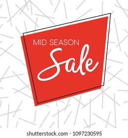 Mid season sale vector badge or label. Designed for web, applications, prints, ui and business promotion. Geometric shapes on textured background.