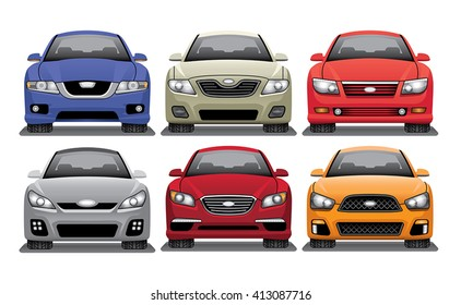 Mid Size Sedan Vector Set