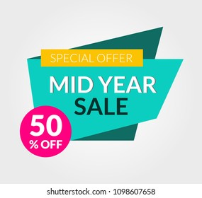 Mid year 50 off sale discount banner for business promotion and advertising. Designed for web, apps, ui and prints.