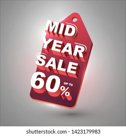 mid year sale up  to 60% tag, red tag, illustration vector eps 10