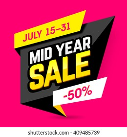 Mid Year Sale banner, poster. Big sale, special offer, discounts, 50% off. Vector illustration.