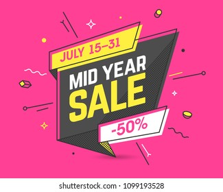Mid Year Sale banner template in flat trendy memphis geometric style, retro 80s - 90s paper style poster, placard, web banner design, vector illustration