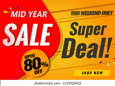 mid year sale banner template