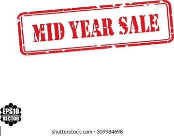 Mid Year Sale Grunge Rubber Stamp On White Background. Vector Illustration.