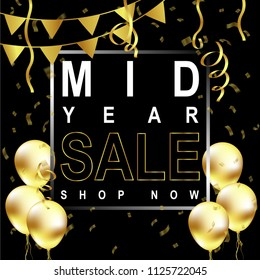 Mid Year sale poster,Mid Year sale banner,Vector,Illustration.
