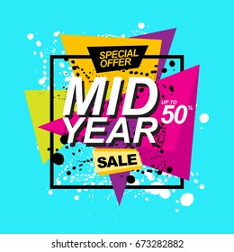 Mid Year Sale . Promotion template design usable for print or web, banner and poster material.