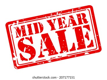 MID YEAR SALE red stamp text on white
