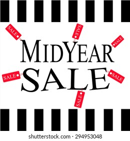 mid year sale with small red tags