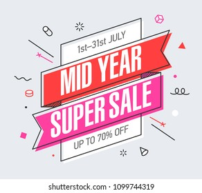 Mid Year Super Sale banner template in flat trendy memphis geometric style, retro 80s - 90s paper style poster, placard, web banner design, vector illustration