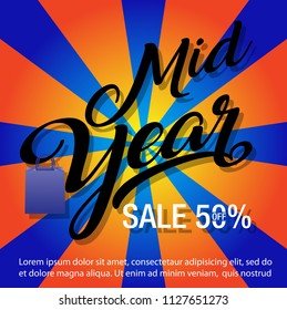 Mid Year Super Sale special offer poster, banner background, big sale, clearance,Mid Year Sale Banner Template