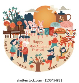 Mid-autumn festival celebration elements with bunny, full moon, moon cake, Chinese lantern, family reunion, and lion dance, illustration, vector