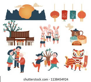 Mid-autumn festival celebration elements set with bunny, full moon, moon cake, Chinese lantern, family reunion, and lion dance, isolated on white background, illustration, vector