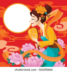 Mid-autumn festival illustration of beautiful Chang'e covered by lotus