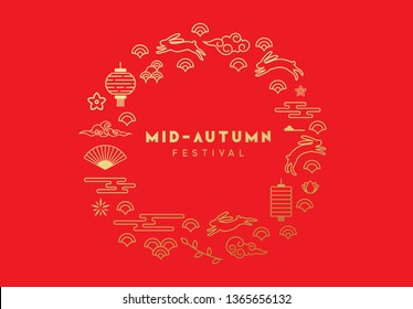 Mid-Autumn Festival. National holiday in China. Design circular with traditional design elements