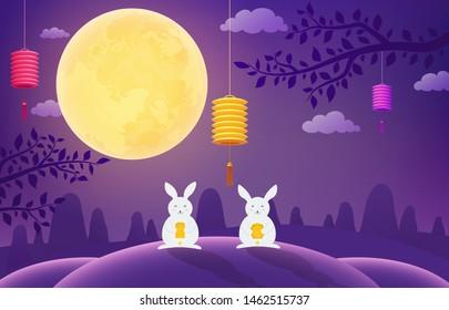 Mid-Autumn Festival. Rabbits on blue background night full moon.