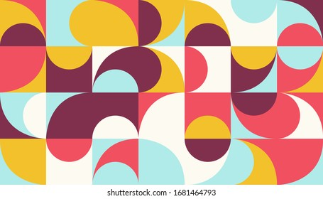 Mid-century geometric abstract pattern with simple shapes and beautiful color palette. Simple geometric pattern composition, best use in web design, business card, invitation, poster, textile print.