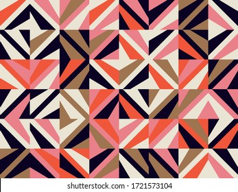 Mid-century geometric abstract pattern with simple shapes and beautiful color palette. Simple geometric pattern composition, best use in web design, business card, invitation, poster, textile print. - Shutterstock ID 1721573104