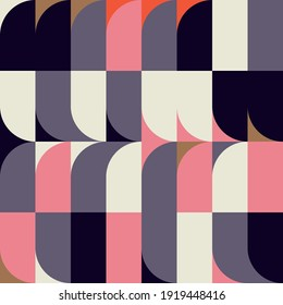 Mid-century geometric abstract vector seamless pattern with simple shapes and retro color palette. Simple composition for web design, branding, invitations, posters, textile and wallpaper.