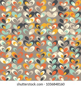 Midcentury geometric retro background. Vintage brown, orange and teal colors. Seamless floral mod pattern, vector illustration. Abstract retro geometric midcentury 60s 70s background.