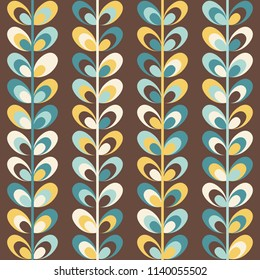 Midcentury geometric retro background. Vintage brown, mustard yellow and teal colors. Seamless floral mod pattern, vector illustration. Abstract retro midcentury 60s 70s background. Vintage wallpapers