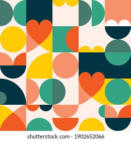 Mid-century modern 60's and 70's style vector seamles pattern - retro minimalist geometric textile or fabric print with hearts. Vintage style repetitive background, simple abstract wallpaper or poster