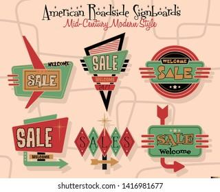 Mid-Century Modern Design American Roadside Billboards and Signboards, Sale Stickers
